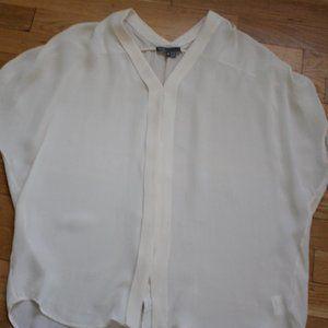 Vince Cream Button Down Silk Loose Fit Blo…